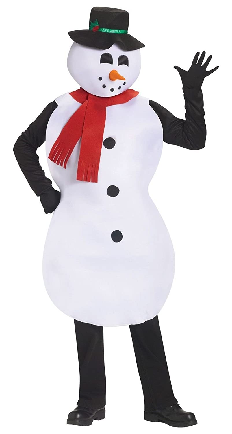 d4948d9ef9dba Amazon.com  Jolly Snowman Christmas Costume Snow White Top Hat Scarf Adult  Frosty Mascot New  Toys   Games