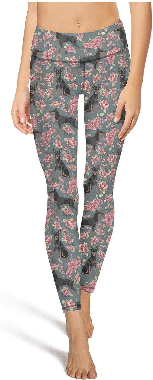 Eoyles gy Womens Ladies High Waist Printed Flower and Doberman Dog Workout Yoga Pants Leggings