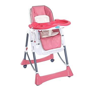 Babystuhl Zusammenklappbar Kinderstuhl Baby Hochstuhl mit Liegefunktion Rosa