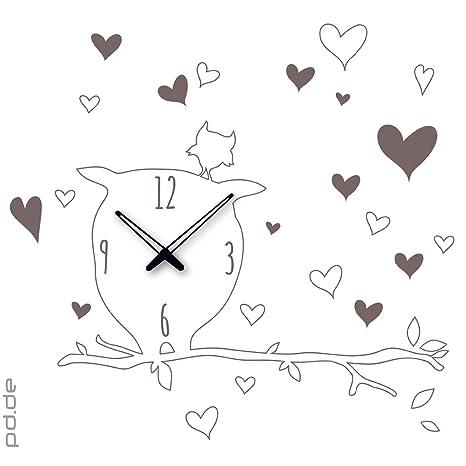 Graz Design – Reloj adhesivo Búhos en la rama – Tamaño aprox. 70 x 80