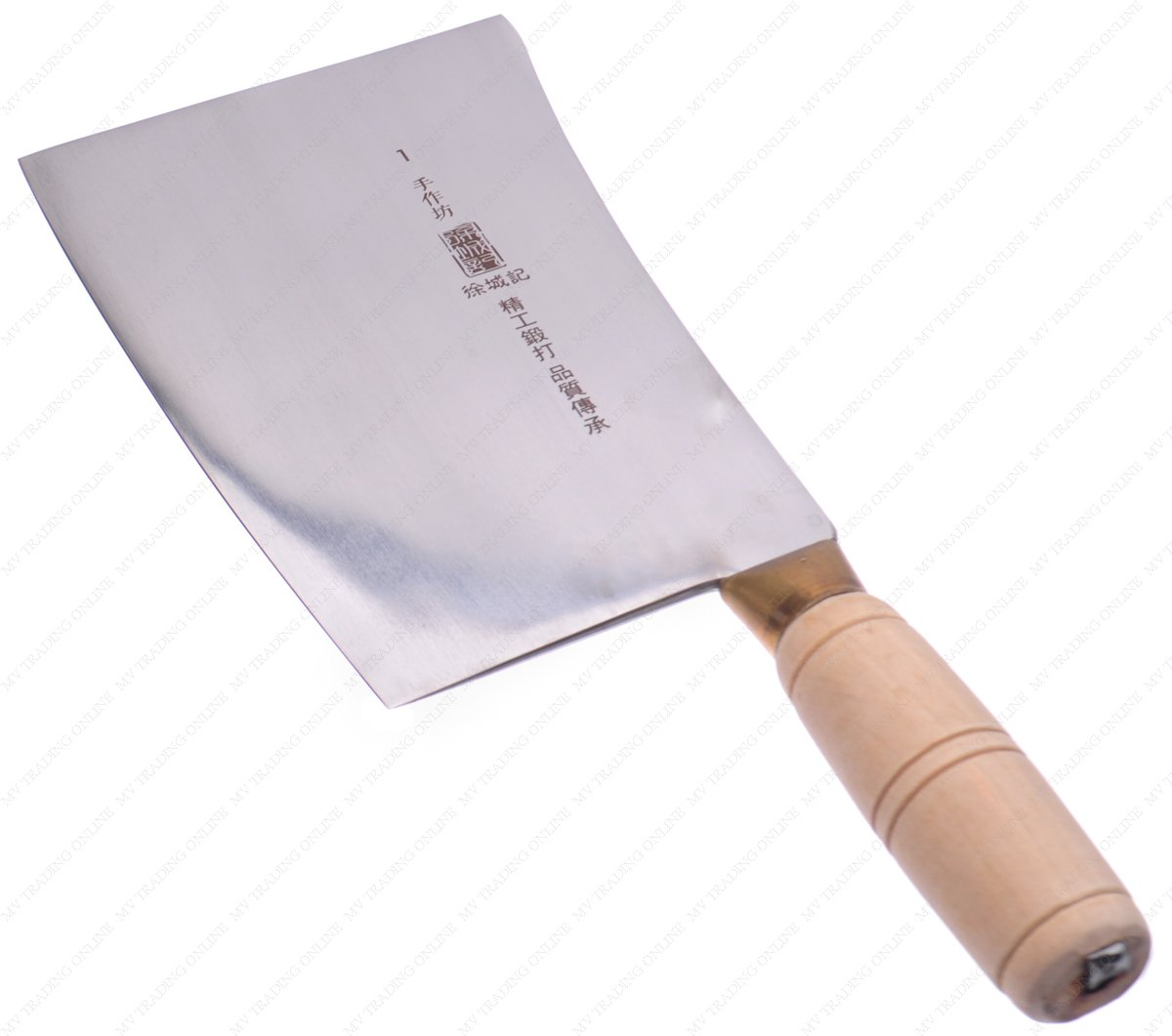 M.V. Trading Commerical Heavy Duty Stainless Steel Butcher Slicing Cleaver with Wooden Handle, Blade Size: 7-3/8 Inch (L) x 4-7/8 Inch (W) | Overall with Handle: 11-3/4 Inch (L)