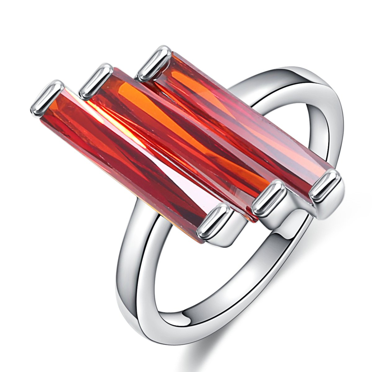 Red Cubic Zirconia Stone Rectangle Cut Cocktail Party Statement Women Rings Jewelry Jiangyue jwz0099-red