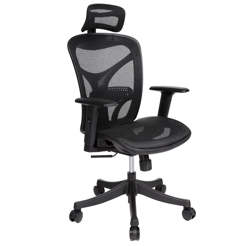 Mymotto Bürostuhl Schreibtischstuhl Drehstuhl Nylon Chefsessel mit Kopfstütze Armlehne Lenkrolle, Höhenverstellbar