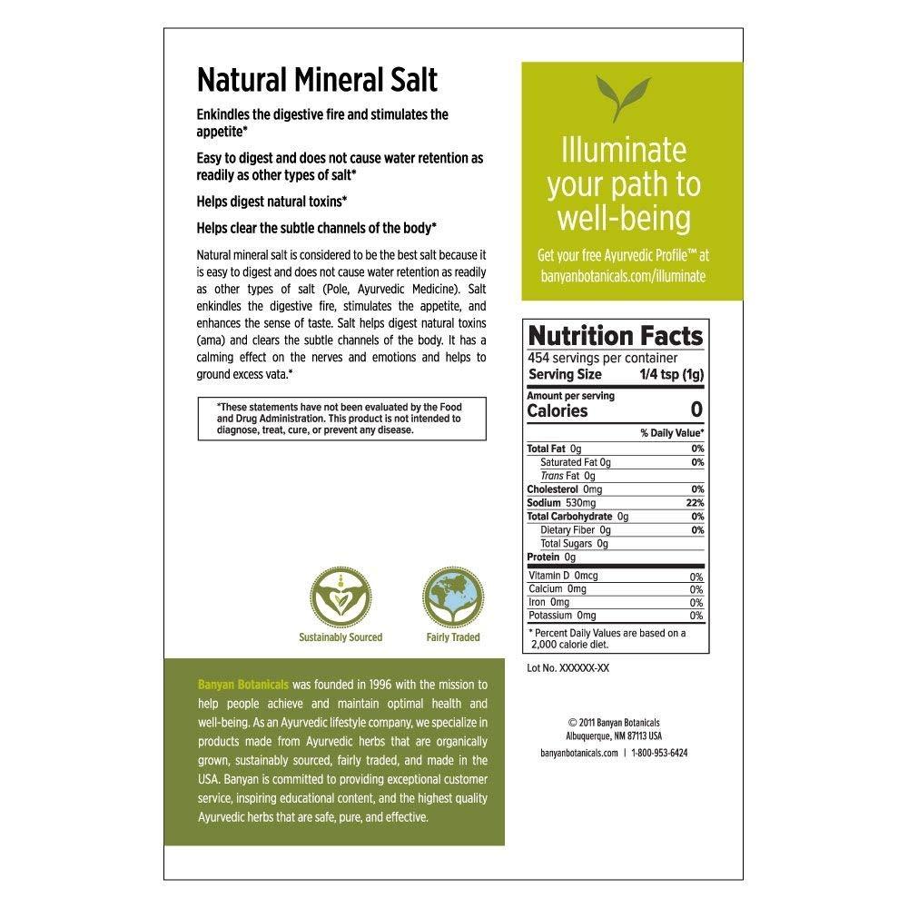 Amazon.com : Banyan Botanicals Salt, Natural Mineral, 1 lb - Rock Salt - Stimulates digestion and promotes a healthy appetite : Grocery & Gourmet Food