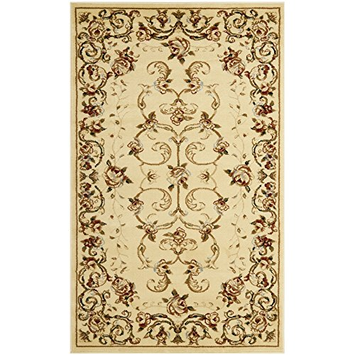 Safavieh Lyndhurst Collection LNH327A Traditional Floral Scrolling Vines Ivory Area Rug (3'3