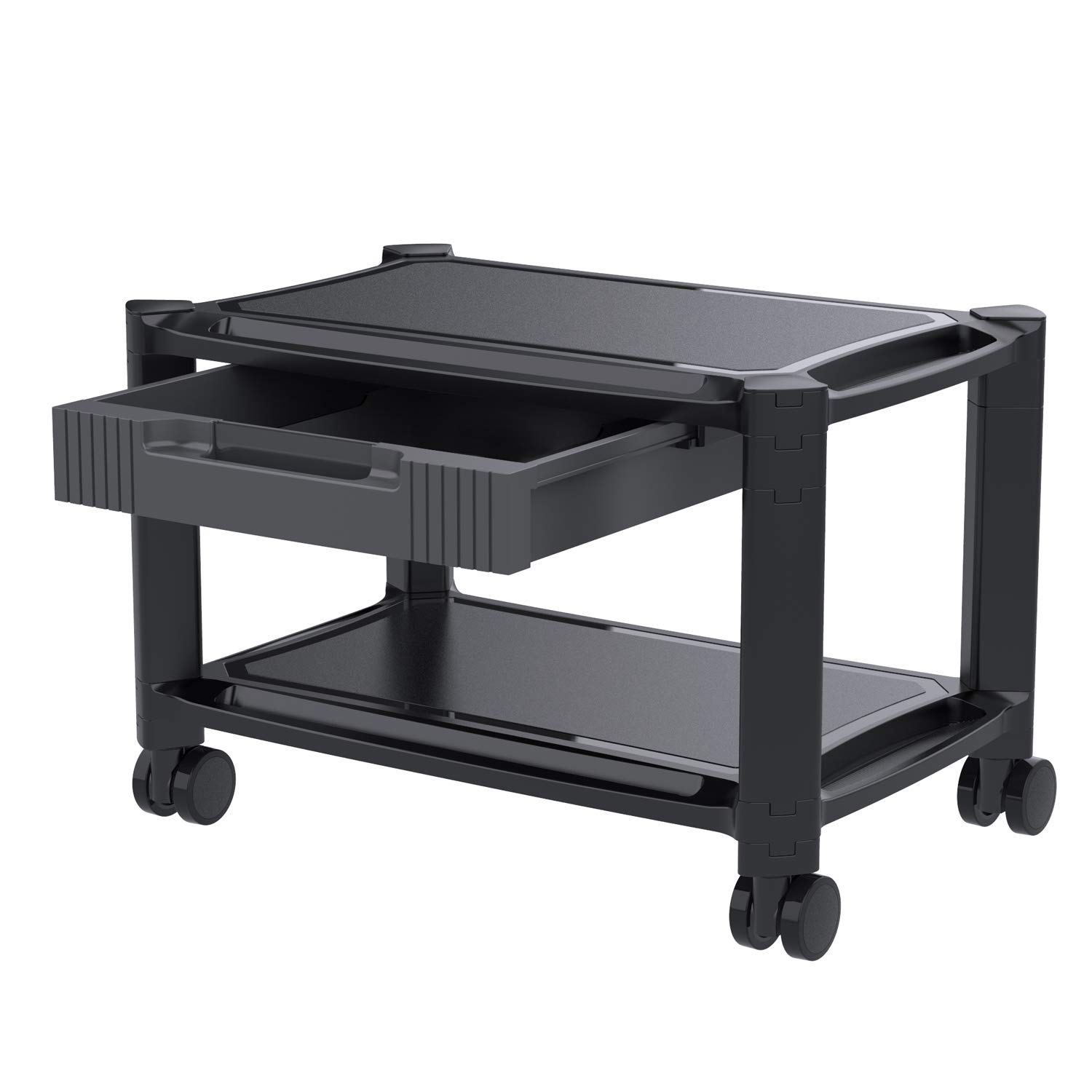 Printer Stand - Under Desk Printer Cart with 4 Rolling Wheels & Storage Drawer, Durable Printer Riser Shelf for Fax, Scanner, Office Supplies by HUANUO