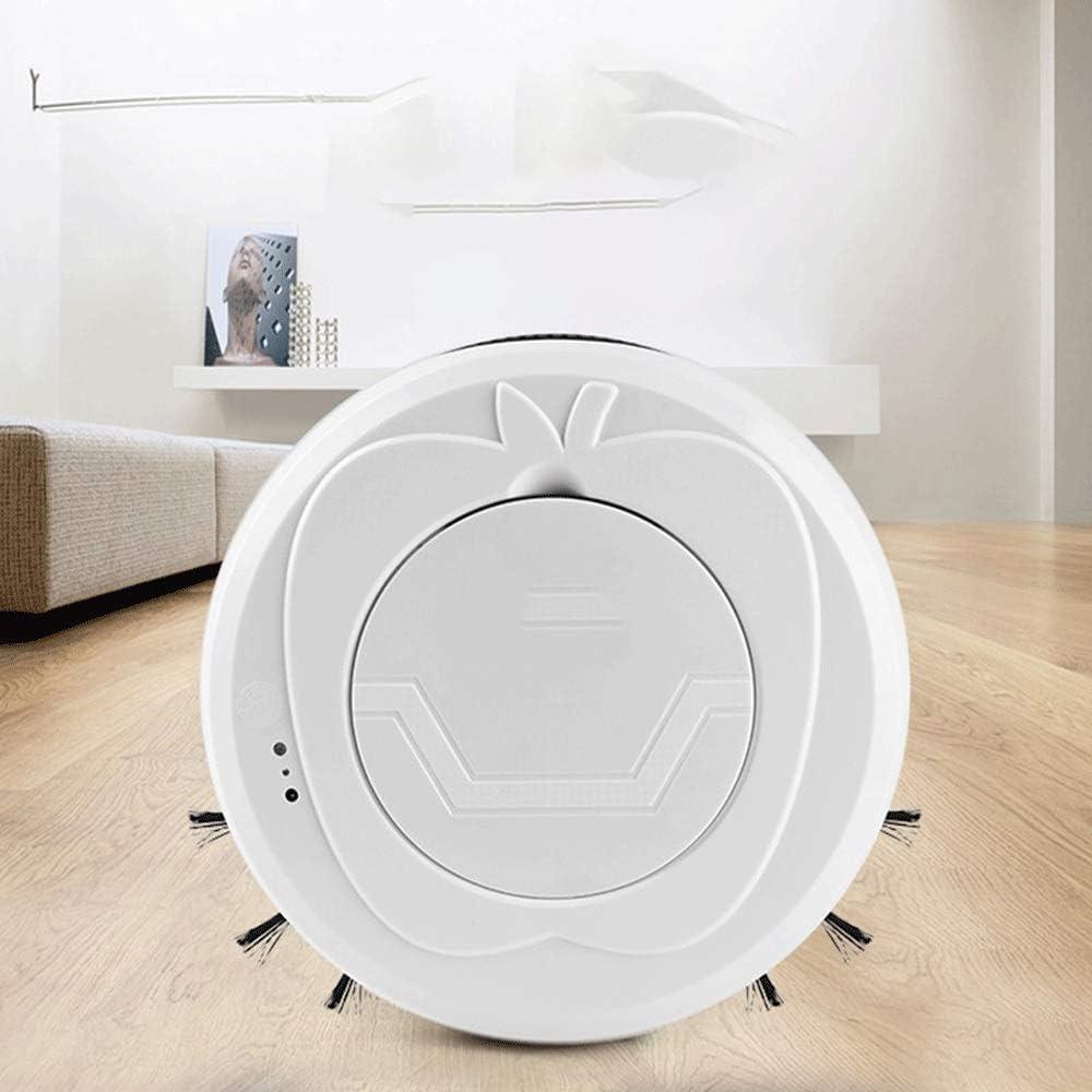 SMX Robot Aspirateur Multifonction USB Accueil Balayer Humide Sec Rechargeable Intelligent Robot Aspirateur, d\'empreintes digitales Tactile Design commutateur (Color : White) White