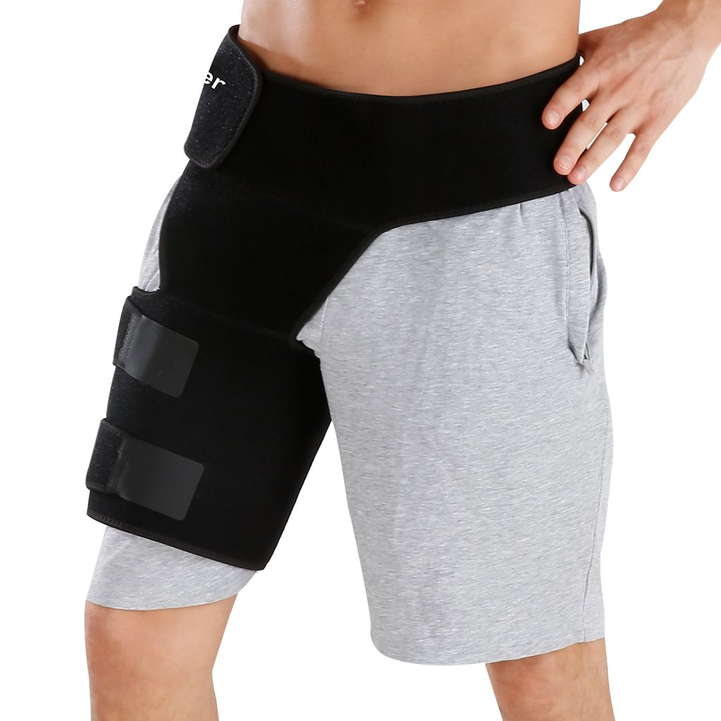 Finether Adjustable Groin Support Wrap, Groin and Hip Stabilizer, Compression Recovery Brace Thigh Strap Sleeve for Hip Injury Sciatic Nerve Pain, Hernia, Pulled Groin, Quad Hamstring for Men Women by Finether
