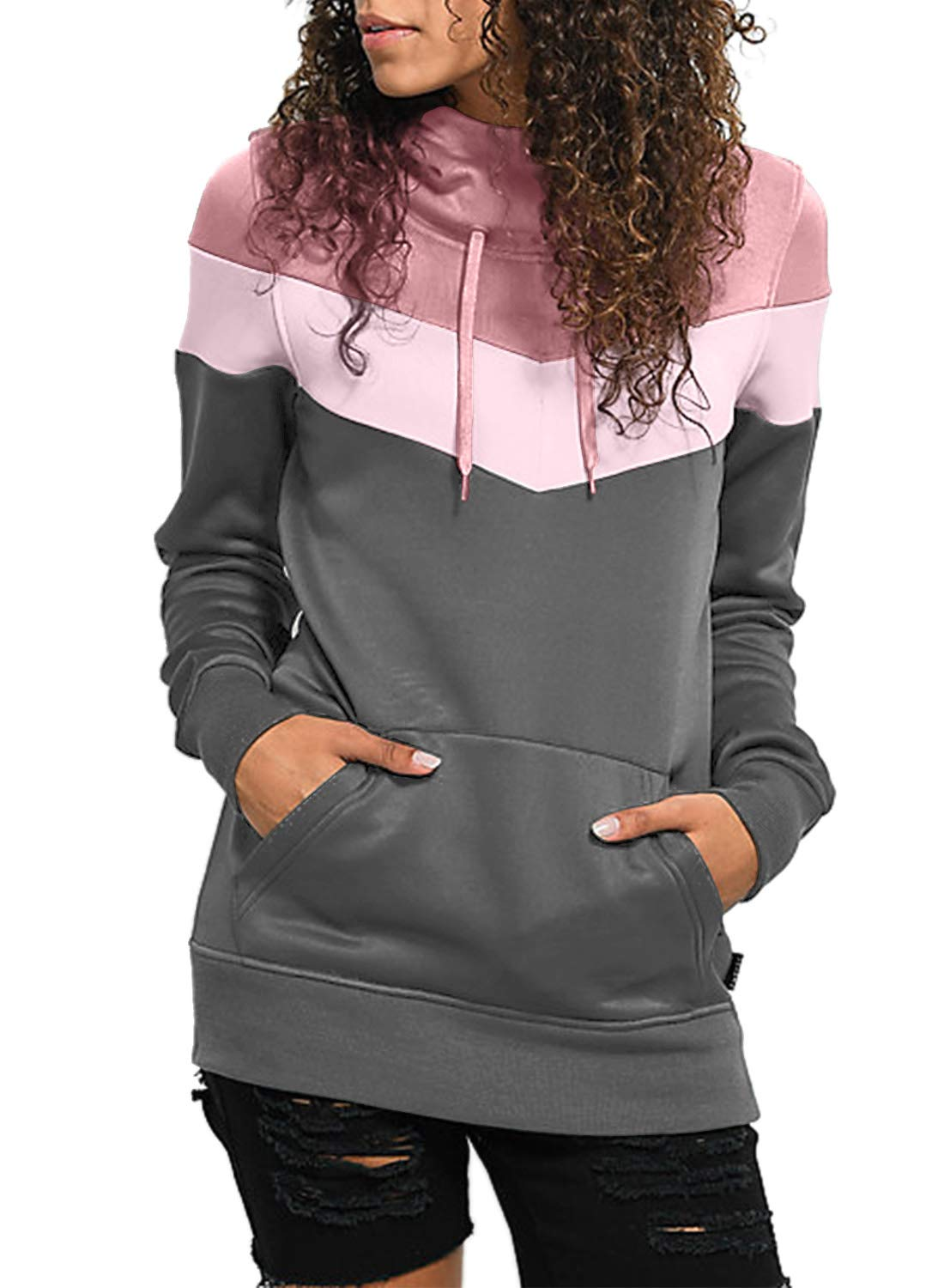 Lovezesent Women's Plus Size Color Block Lightweight Cotton Hoodie Pullover Sweatshirt Sport with Pocket Casual Long Sleeve Drawstring Hooded Tops for Jeans Grey 2XL