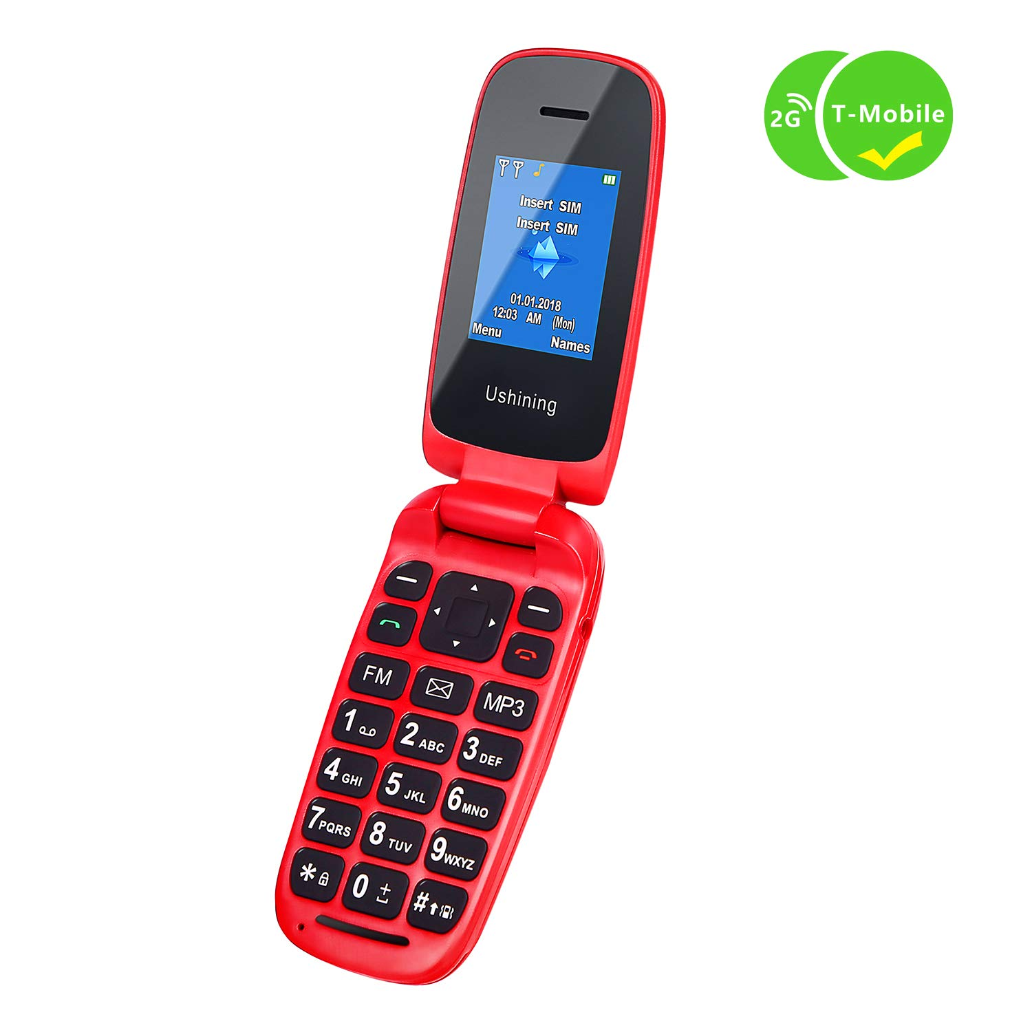 Ushining Unlocked Flip Cell Phone for Seniors,Easy-to-Use,Long Standby time,T-Mobile Card Suitable (Red) by USHINING (Image #2)