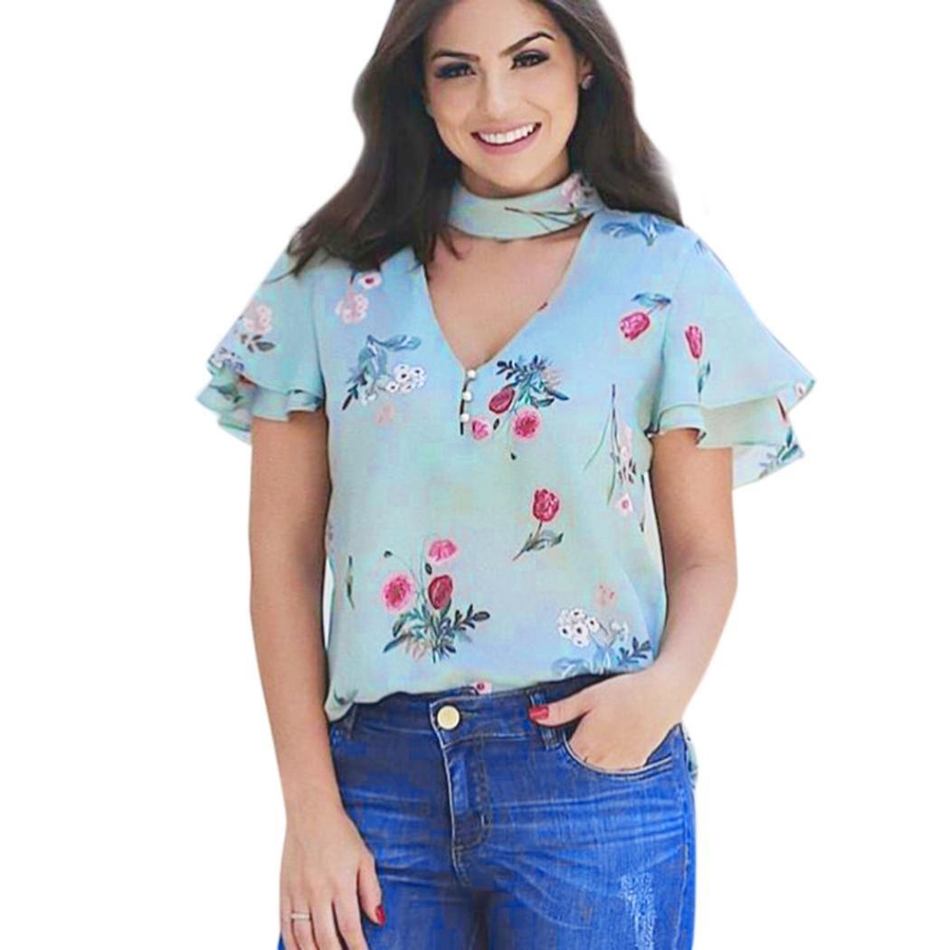 Homebaby® Manica Corta Magliette Donna Chiffon -T Shirt Donna Vintage Elegante Pizzo - Sciolto Top Tumblr Estiva Particolari Magliette Corte Cotone Tumblr T-Shirt Donna Casual