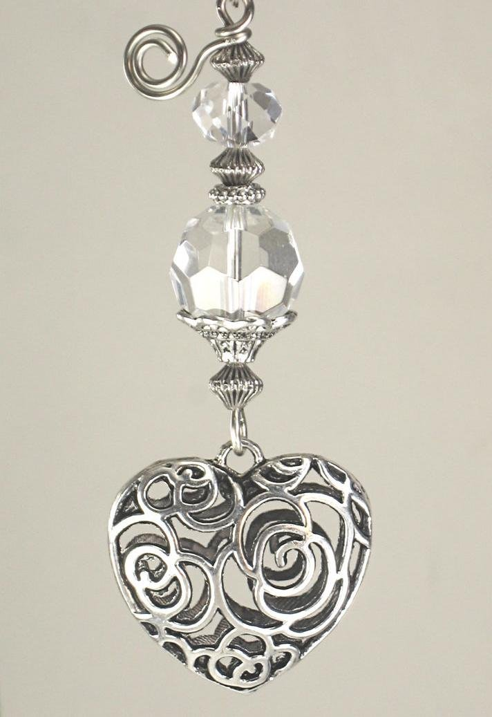 Silvery Puffed Scrollwork Heart and Crystal Clear Glass Light or Ceiling Fan Pull