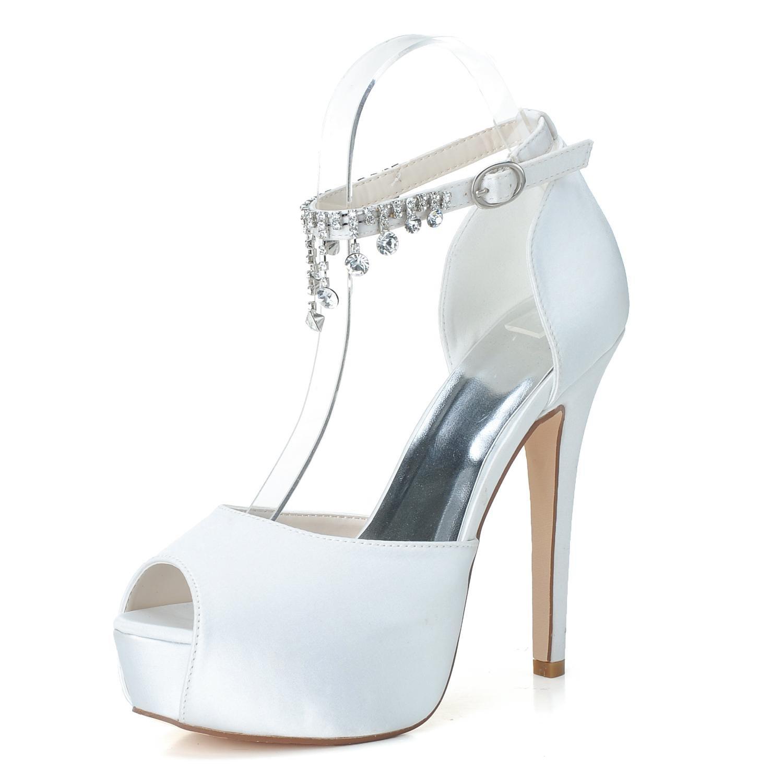 Elegant High Shoes Zapatos De Boda De Las Mujeres PL-3128-21 Rhinestone Platform Pump Satin Zapatos De Novia con Colgantes De Seda 36 EU White