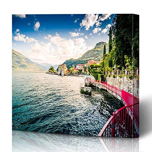 Ahawoso Canvas Prints Wall Art 12x16 Inches Italian Blue Lake Como Varenna Italy On Alps Menaggio Parks Balbianello Bay Bellagio Boat Design Famous Decor for Living Room Office Bedroom