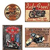 stop service - Motorcycle Tin Sign Bundle - Mother Road Motorcycle Repair, Ride Free, Last Stop Full Service Gasoline, Ride On