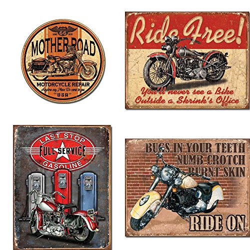 Motorcycle Tin Sign Bundle - Mother Road Motorcycle Repair, Ride Free, Last Stop Full Service Gasoline, Ride On ()