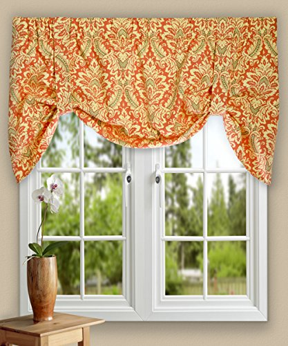 Up Lined Valance Tie - Ellis Curtain Donnington 50-by-21 Inch Lined Tie-Up Valance, Clay