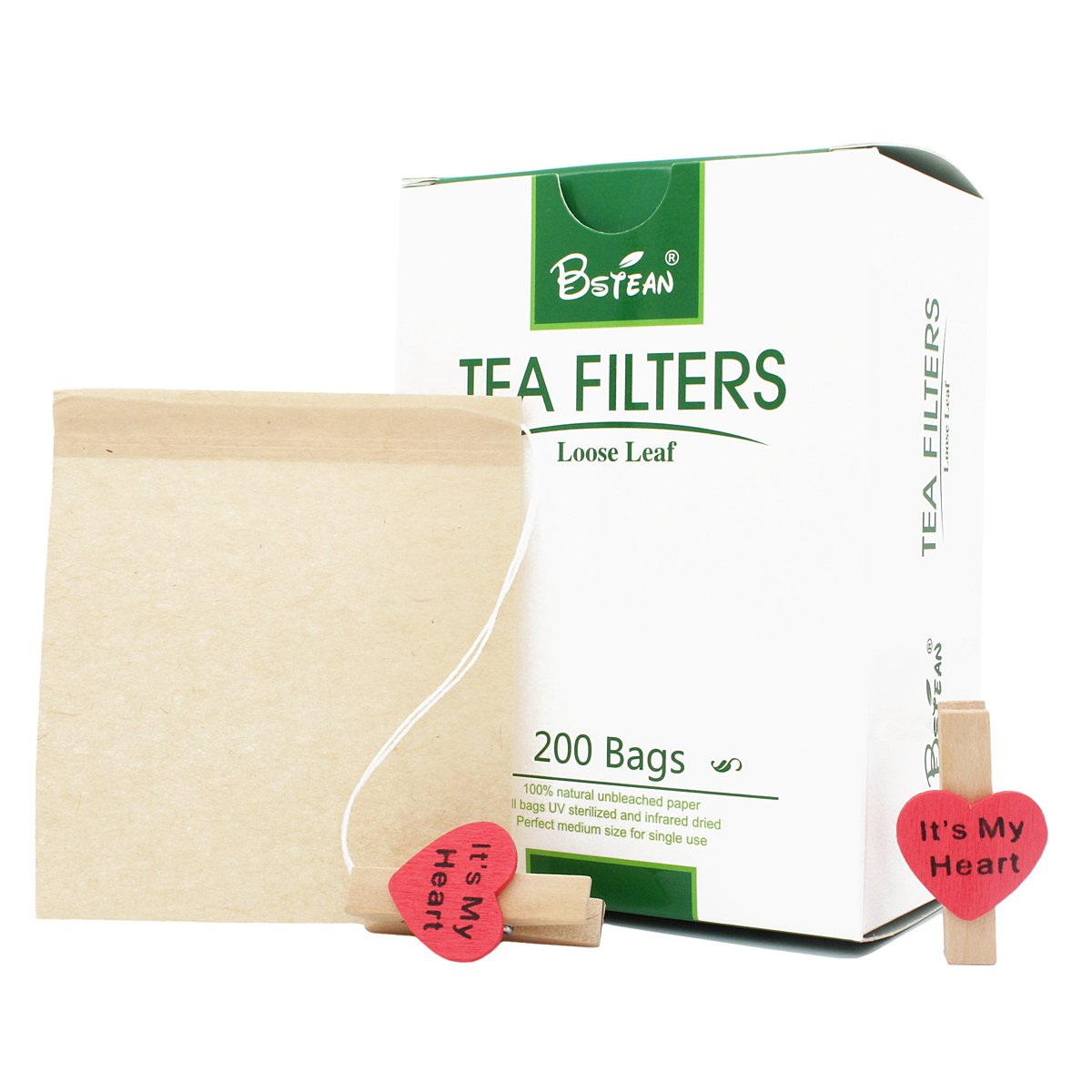 Bstean Tea Filter Bags Disposable Tea Infuser with Drawstring for Loose Leaf Tea with 100% Natural Unbleached Paper and 2 Free Clip (100 PCS x 2)