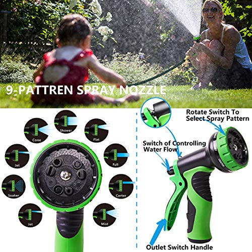 """100 ft Expandable Garden Hose,Upgraded Leakproof Lightweight Garden Water Hose with 3/4"""" Solid Brass Fittings,Extra Strength 3750D Durable Gardening Flexible Hose,Expanding Garden Hoses Spray Nozzle …"""