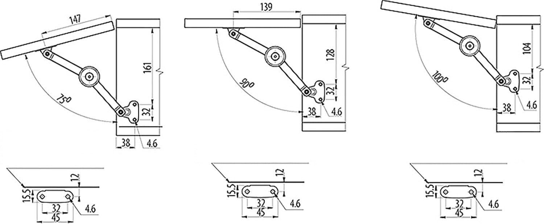 4 X Mprofi MT/® Guarnitura per Ante a Ribalta 75-100/° Cerniera Ribaltabile Fermo per Ante a Ribalta per Telai in Legno o Alluminio