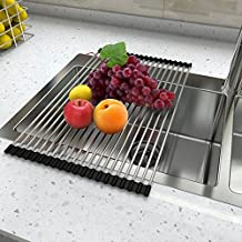 Lifewit 20.4 x 13.3in Dish Drainer Over Sink Roll-Up Dish Drying Rack 304 Stainless Steel Multipurpose Countertop Draining Rack
