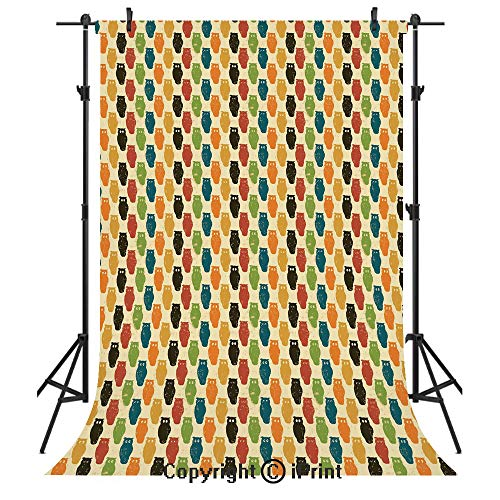 Owls Photography Backdrops,Retro Styled Colorful Animal Silhouettes with Grunge Display Halloween Inspirations Decorative,Birthday Party Seamless Photo Studio Booth Background Banner 5x7ft,Multicolor -