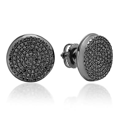 64b87a1acf3b0 0.40 Carat (ctw) Real Black Diamond Micro Pave Hip Hop Mens Stud Earrings
