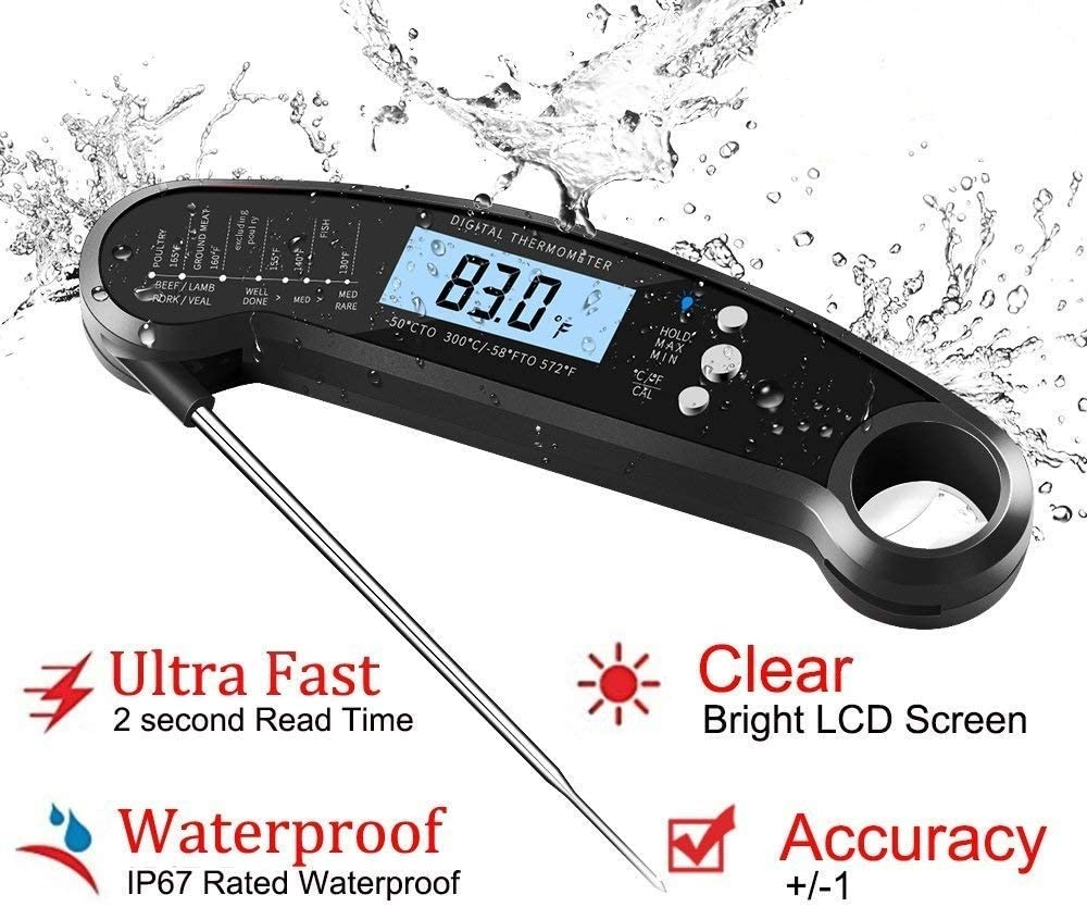 Digital Kitchen Thermometer for Bread, Candy, Yogurt, Liquids, Baking, BBQ Meat - Instant Read, Waterproof Magnetic Body and Wireless Large Probe with a Bottle Opener and Backlit Dial