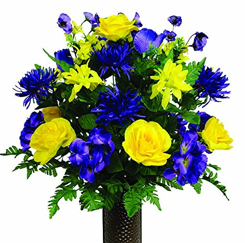 Purple Hydrangea and Yellow Rose Mix Artificial Bouquet, featuring the Stay-In-The-Vase Design(c) Flower Holder (LG1241) (Hydrangea Silk Flowers In Vase)