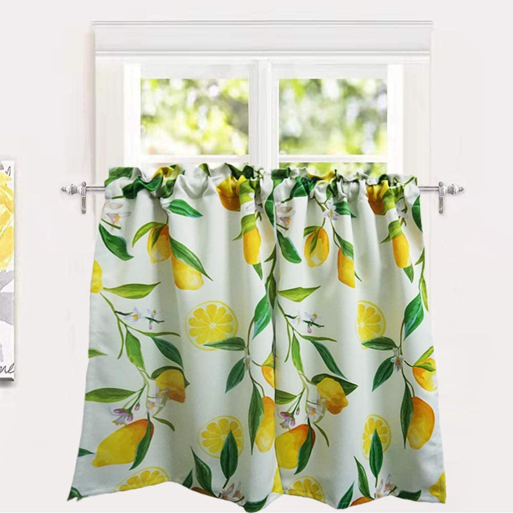 Yokii Lemon Cafe Curtains 24 W X 36 L Tailored Farmhouse Floral Bathroom Kitchen Tier Curtains Pair Rod Pocket Room Darkening Short Half Window Treatment Curtains Tiers 24 X 36 Lemon
