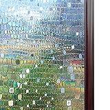 Rabbitgoo Window Film No Glue Privacy Film Static Cling Glass Film 3D Pebble Non-Adhesive Window Stickers Anti Uv 35.4in. By 78.7in. (90 x 200CM)