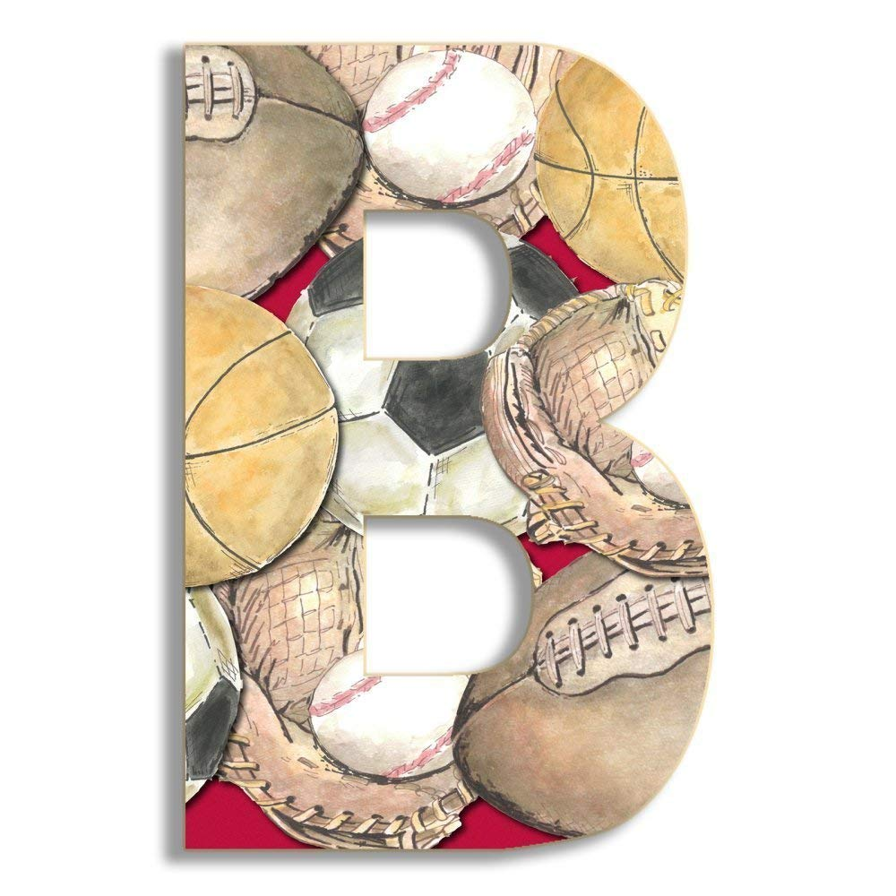 Stupell Home Décor Layered Sport 18 Inch Hanging Wooden Initial, 12 x 0.5 x 18, Proudly Made in USA by Stupell Industries