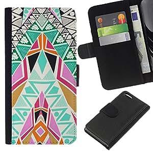 For Apple Iphone 5C Case , Art Patterns Colorful Spiritual - la tarjeta de Crédito Slots PU Funda de cuero Monedero caso cubierta de piel