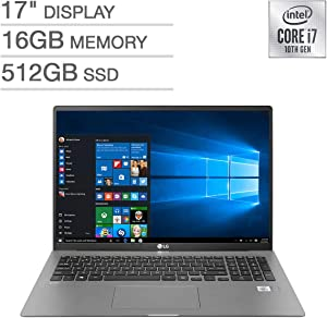 "2020 LG Gram Thin and Light Laptop, 17"" WQXGA 2560 x 1600 IPS Display, Intel 10th Gen i7-1065G7, 512GB SSD, 16GB RAM, Thunderbolt 3, up to 17 Hour Battery, Intel Iris Plus Graphics, Windows 10 Pro"