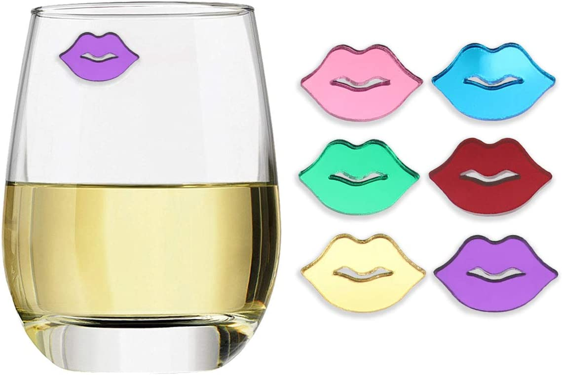 Includes Storage Case Beer Champagne KISSABLES Magnetic Wine Glass Charms by Claim Your Glass Premium Drink Markers for Wine Spare Magnet Set of 6 Cocktail Glasses