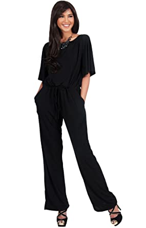 Amazon.com: KOH KOH Womens Short Sleeve Long Pants Suit Jumpsuit ...