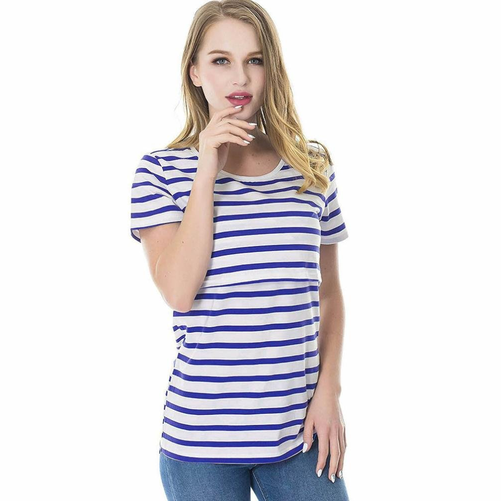 LtrottedJ Women Striped Pregnant Nursing Baby for Maternity Multifunctionl Blouse T-Shirt (M, Blue) by Ltrotted