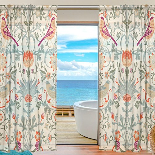 (INGBAGS Bedroom Decor Living Room Decorations William Morris Flower Pattern Print Tulle Polyester Door Window Gauze / Sheer Curtain Drape Two Panels Set 55x84 inch ,Set of 2)