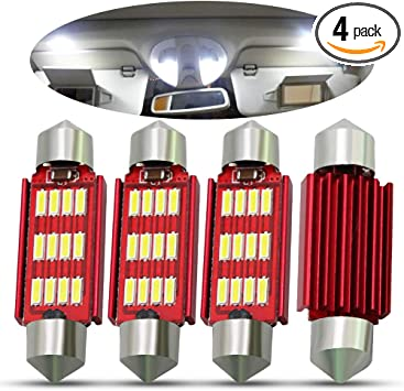 Boodled 4pcs Extremely Bright 31mm 10-SMD Festoon 4014 Chipsets Canbus Error Free 569 578 211-2 212-2 LED Bulbs Xenon White.