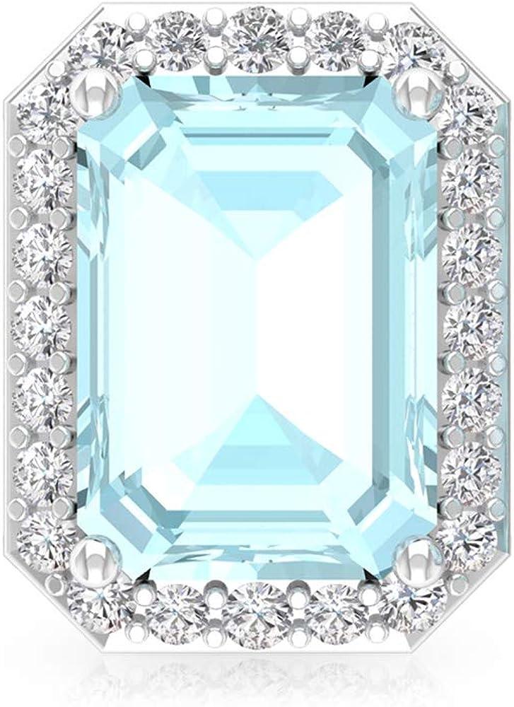2.5 ct azul topacio cielo pendiente, octágono forma de piedra natal pendiente, IGI certificado diamante novia boda pendientes, IJ-SI diamante declaración pendiente, tornillo hacia atrás