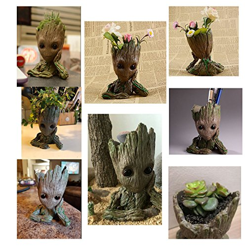 B-Best Guardians of The Galaxy Groot Pen Pot Tree Man Pens Container Or Flowerpot with Drainage Hole Perfect for a Tiny Succulents Plants and Best Gift Idea 6'' by B-BEST (Image #1)'