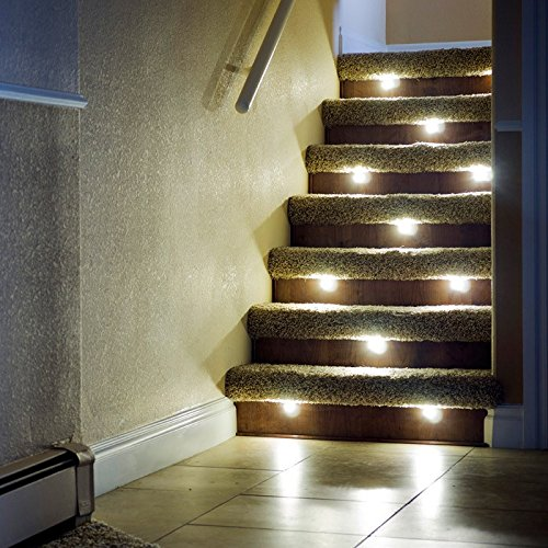 Wonderful Indoor LED Recessed Stair Light/Step Light/Riser Light Kit   8 LED Lights    Hammered White     Amazon.com