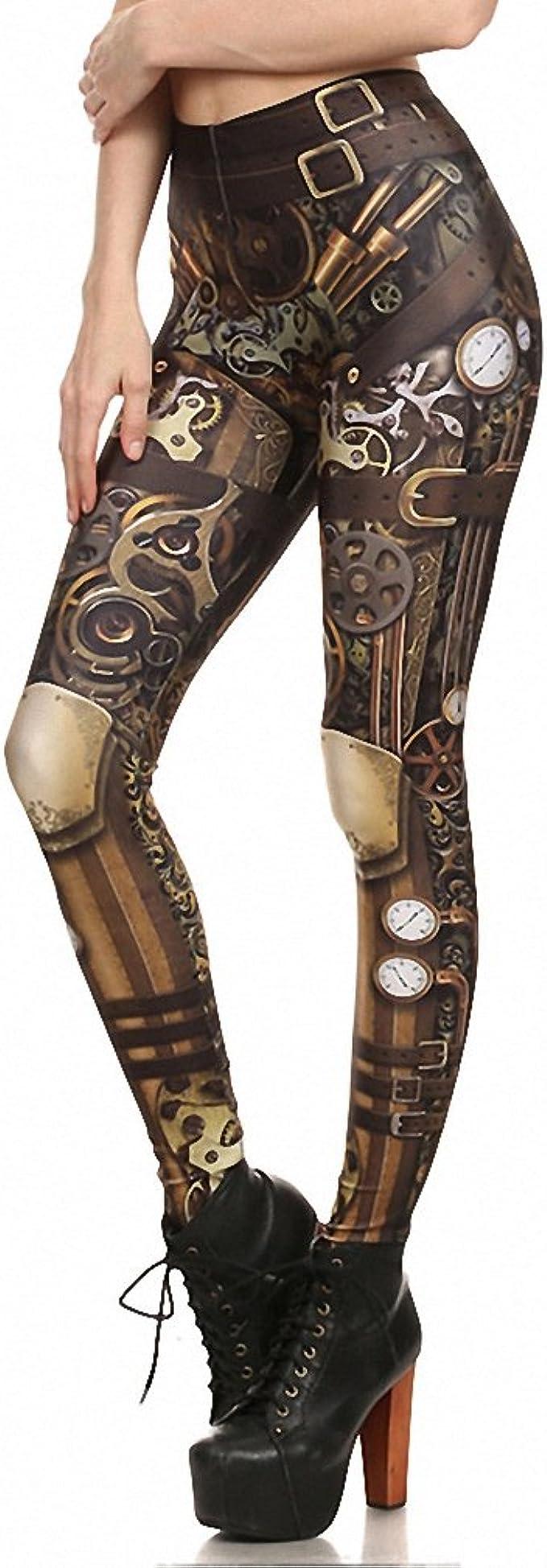 Leggings Design Steampunk Femmes Femmes Leggin Taille Haute ...