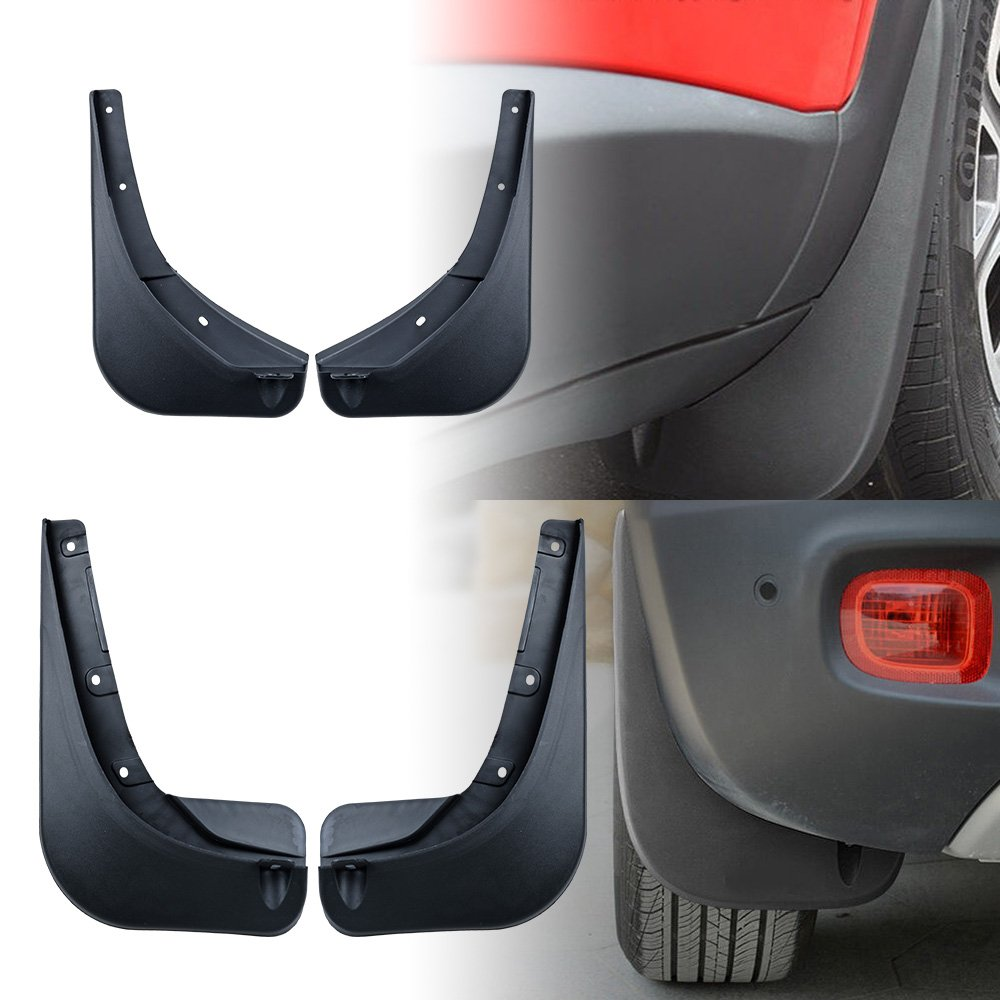 Astra Depot Compatible for 2015-2017 Jeep Renegade Black Deluxe Molded Splash Guard Mud Flaps Set of 4pcs