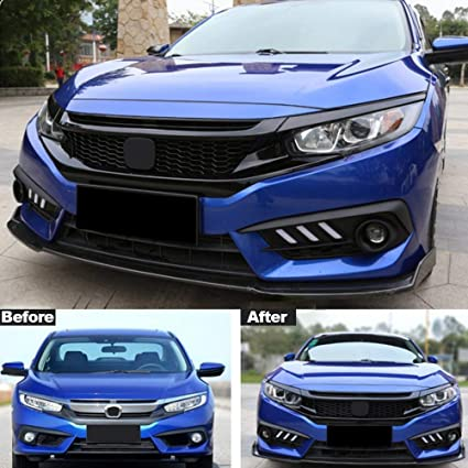 amazon com youngercar front bumper mesh grille for 2016 2018 hondaamazon com youngercar front bumper mesh grille for 2016 2018 honda civic type r style gloss black abs automotive