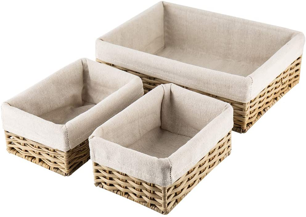 Hosroome Handmade Wicker Storage Baskets Set Shelf Baskets Woven Decorative Home Storage Bins Decorative Baskets Organizing Baskets Nesting Baskets(Set of 3,Beige)