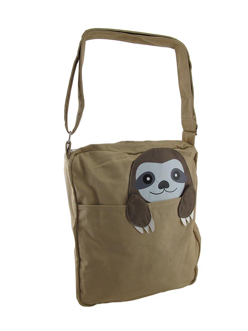 Cotton Blend Womens Cross Body Bags Sleepyville Critters Peeking Sloth Canvas Cross Body Bag 19 X 1 X 15 Inches Brown