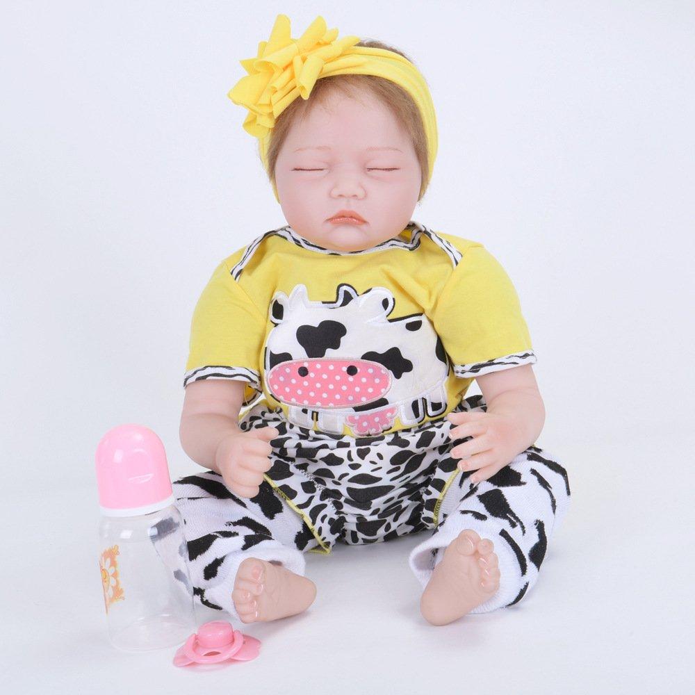 LIJUN Wiedergeburt Puppe Simulation Baby Doll Geschlossene Augen Silikon Puppe 55cm,55cm 55cm