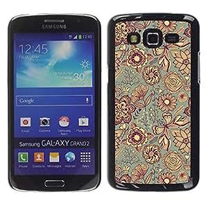 TopCaseStore / la caja del caucho duro de la cubierta de protección de la piel - Fabric Texture Indian Floral Art - Samsung Galaxy Grand 2 SM-G7102 SM-G7105
