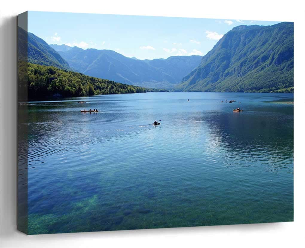 Wall Art Canvas Print Home Decor (20x14 inches)- Bohinj Bohinj Lake Slovenia Julian Alps Clea